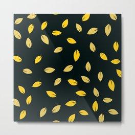 Gold Teardrop Leaves Pattern on Black Suede Metal Print