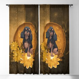 Cute spaniel with flowers Blackout Curtain