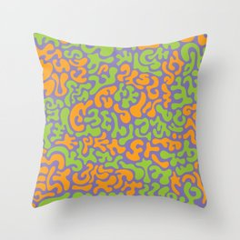 Social Networking Grape, Lime, Orange Throw Pillow
