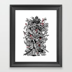 Nuclear Ninja Turtles Black and White Framed Art Print