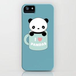 Kawaii I Love Pandas iPhone Case