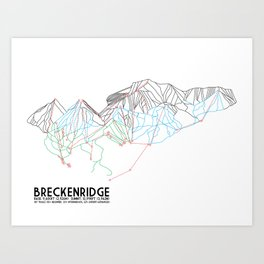 Breckenridge, CO - Minimalist Trail Map Art Print