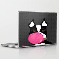 terrier Laptop & iPad Skins featuring Bubblegum Terrier by Designs By Misty Blue (Misty Lemons)