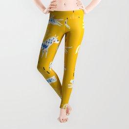 Folk horse on yellow Leggings
