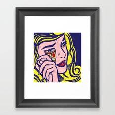 Crying Pizza Girl Framed Art Print