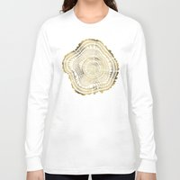 teagan white Long Sleeve T-shirts featuring Gold Tree Rings by Cat Coquillette