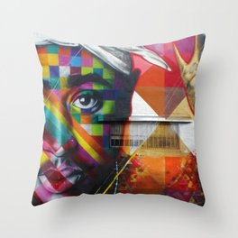 African American 26th Street Miami, Florida Mural 'Legends of Hip Hop' Throw Pillow