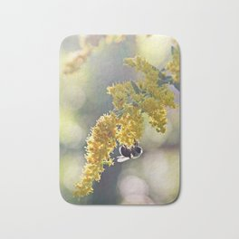 Bee on Yellow and Green Goldenrod Bath Mat