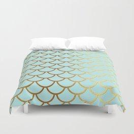Aqua Teal And Gold Foil MermaidScales - Mermaid Scales Duvet Cover