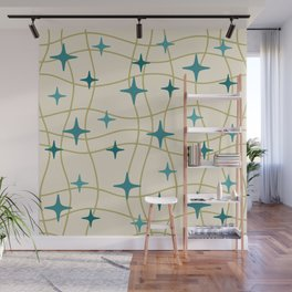 Mid Century Modern Cosmic Star Pattern 693 Cream Turquoise Olive Wall Mural