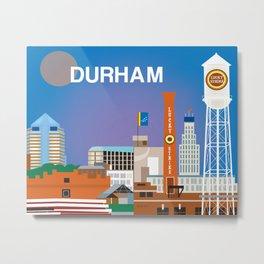 Durham, North Carolina - Skyline Illustration by Loose Petals Metal Print