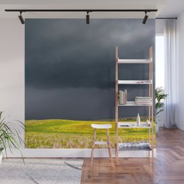 Simply Spring - Thunderstorm Over Yellow Fields in Oklahoma Wall Mural