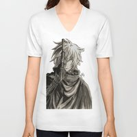 noir V-neck T-shirts featuring Noir by OtakuRuki