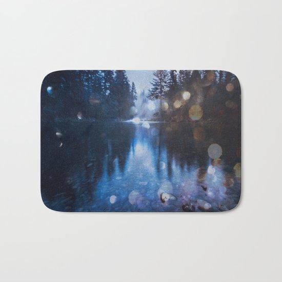 Magical Blue Forest Water Reflection Bath Mat