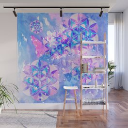 Flower-of-Life Paint Pattern Blue Wall Mural