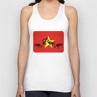 vietnam Tank Tops featuring Vietnam Flag, Roosters Sparring by mailboxdisco