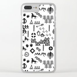 Peoples Story - Black on White Clear iPhone Case