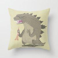 godzilla Throw Pillows featuring Godzilla by Rod Perich