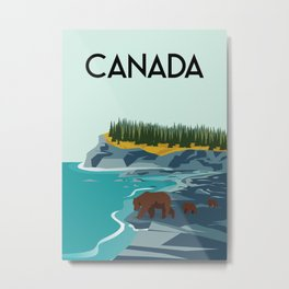 Canada bears illustration Metal Print
