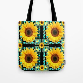 WESTERN STYLE  BLACK COLOR YELLOW SUNFLOWERS ART Tote Bag