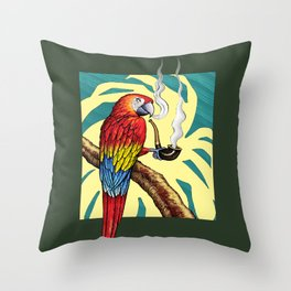 Smokin parrot .... where is my pipe ??? Throw Pillow