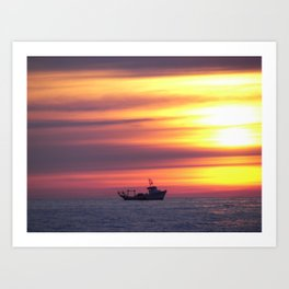 Fishing Boat At Sunrise Art Print