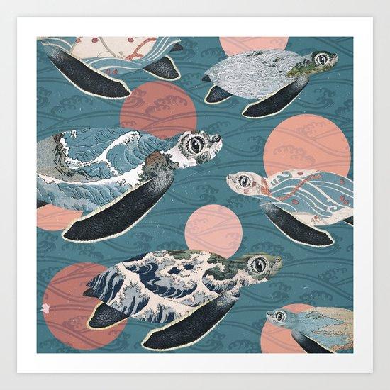 Sea Turtle Polka Art Print