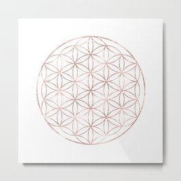 Mandala Rose Gold Flower of Life Metal Print