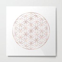 Mandala Rose Gold Flower of Life Metal Print