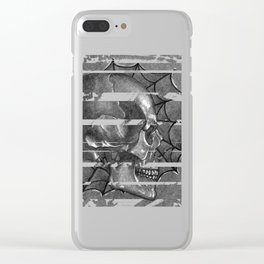 Black Grey and White, American Style Tattoo Skull Clear iPhone Case