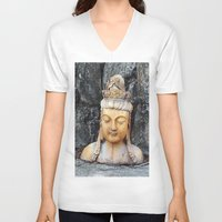 asian V-neck T-shirts featuring ASIAN GODDESS by JANUARY FROST
