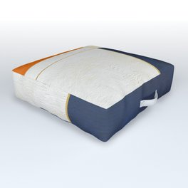 Orange, Blue And White With Golden Lines Abstract Painting Outdoor Floor Cushion