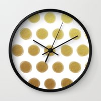 gold dots Wall Clocks featuring painted polka dots - gold by her art