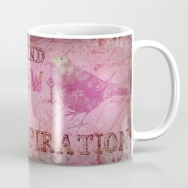 Move on pink Inspirational Typography and Bird Collage Coffee Mug