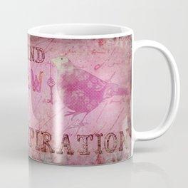 Move on pink Inspirational Typography and Bird Collage Coffee Mug