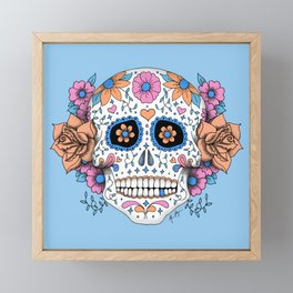 Sugar Skull in Blue and Coral Framed Mini Art Print