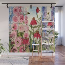 Cottage Garden Flower Whimsical Acrylic Painting Wall Mural