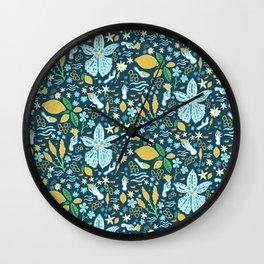 Santorini Flora Wall Clock