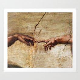 The Creation of Adam by Michelangelo Art Print