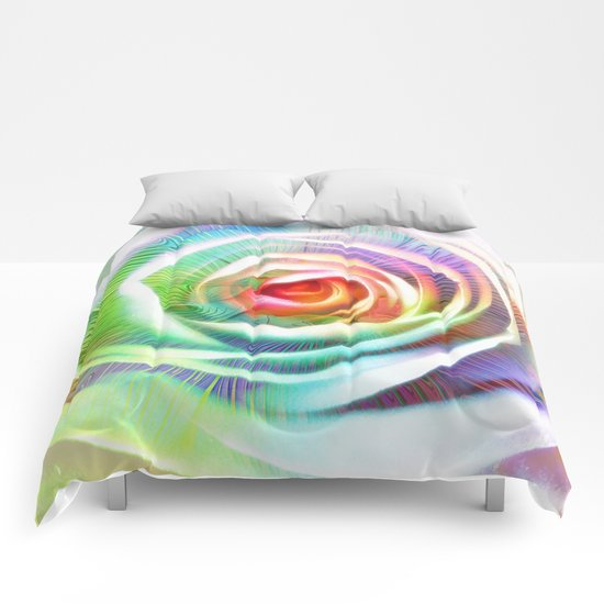 Rainbow Rose & Fractal Comforters