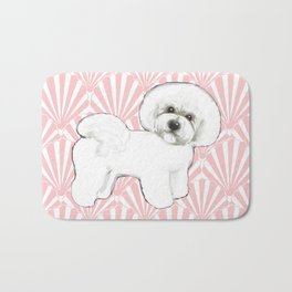 Bichon Frise at the beach / seashell pink Bath Mat