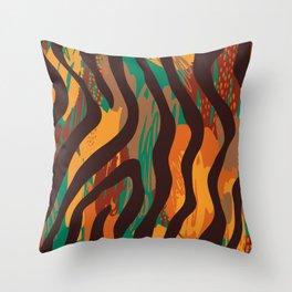 Brown orange green geometric ethnic zebra animal print Throw Pillow