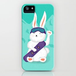 Manekineko bunny goes snowboarding iPhone Case