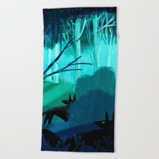 Shadow Wolves Stalk The Silver Wood Beach Towel