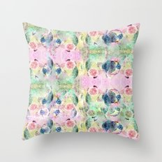 Ysmite Argate-crystal, floral, pastel, abstract Throw Pillow