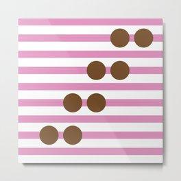 Geometric Stripe & Spot Large Pink & Brown Metal Print