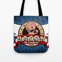 bacon Tote Bags featuring Bacon by maiconmcn
