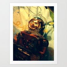 Vintage Christmas Astronaut Art Print