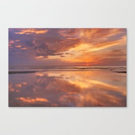 Sunset reflections on the beach, Texel island, The Netherlands Canvas Print
