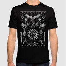 A Very SPN Christmas MEDIUM Black Mens Fitted Tee